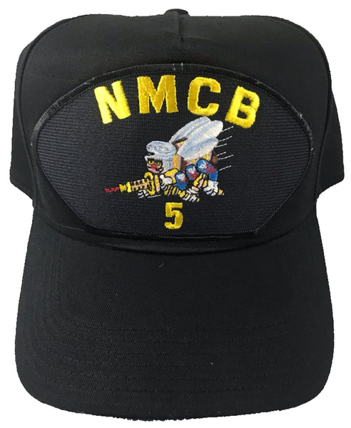 NAVAL MOBILE CONSTRUCTION NMCB-5 HAT - BLACK - Veteran Owned Business - HATNPATCH