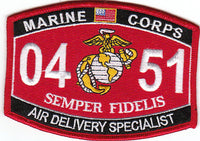 US Marine Corps 0451 Air Delivery Specialist MOS Patch - HATNPATCH