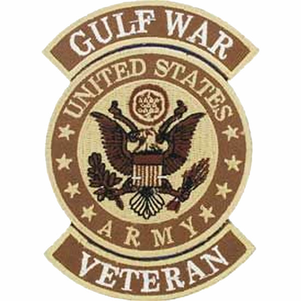 UNITED STATES ARMY GULF WAR VETERAN ROUND PATCH - Beige Brown Black and White - Veteran Owned Business