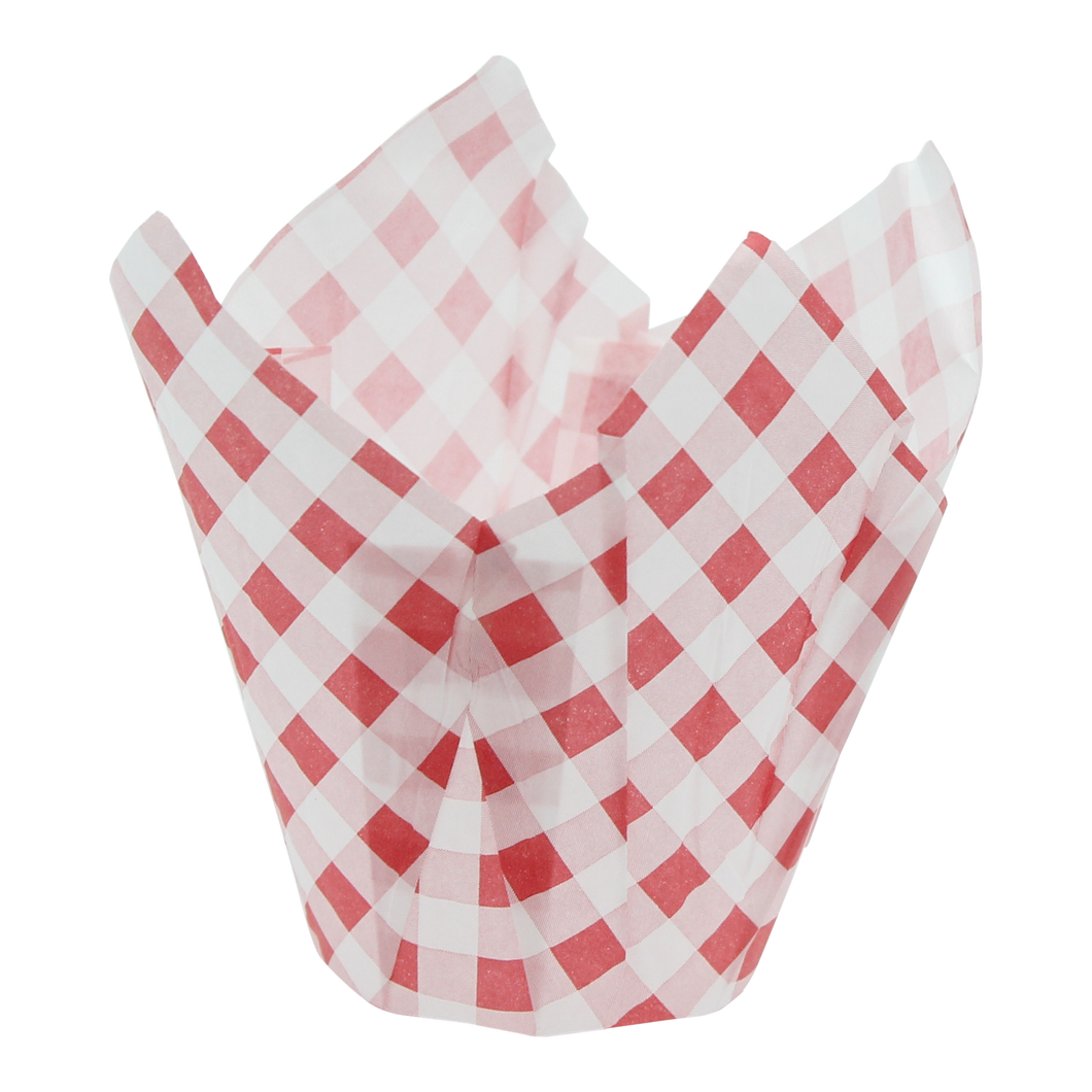Carreauté (Red & White) Tulip Muffin Cups