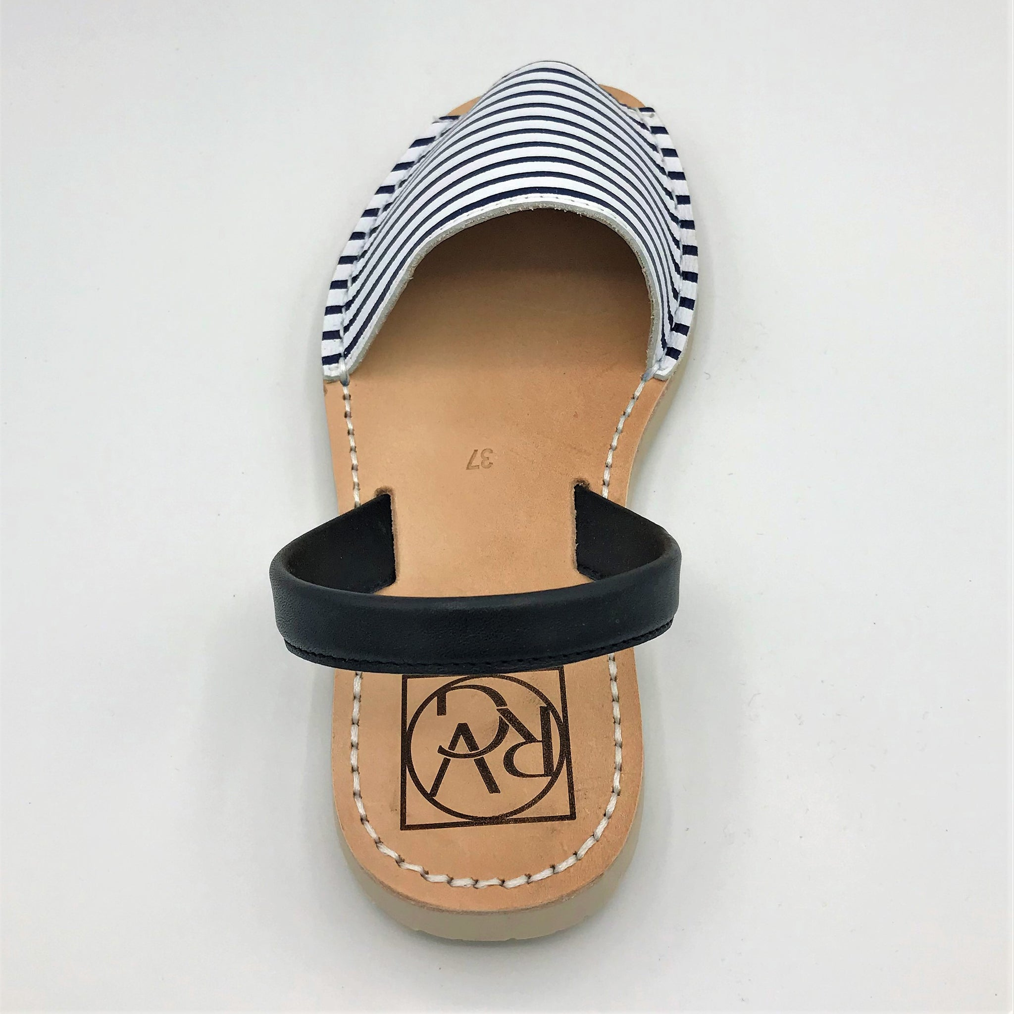 Striped Blue Leather Sandal from RGV Styled