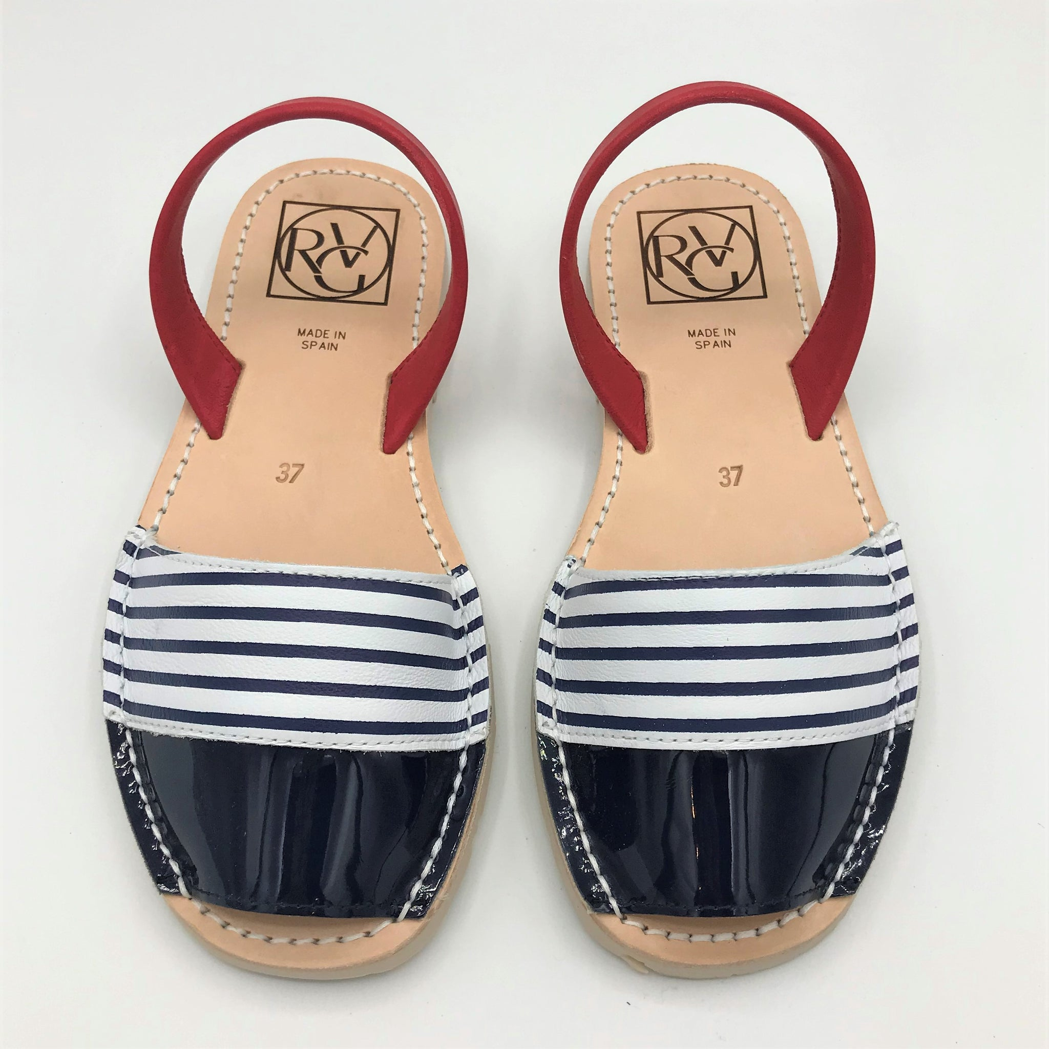 Striped Blue and Red Leather Sandal from RGV Styled