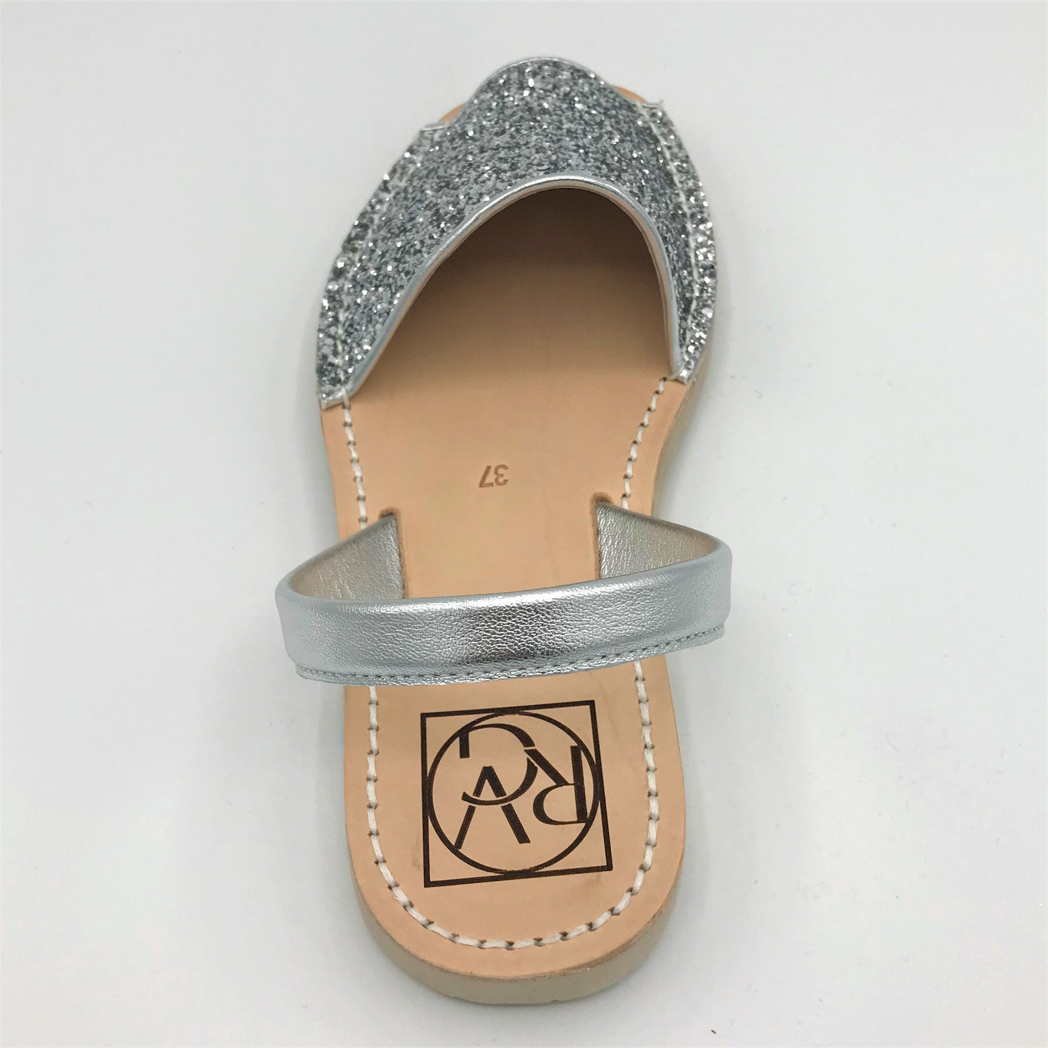 Silver glitter leather sandal from RGV Styled