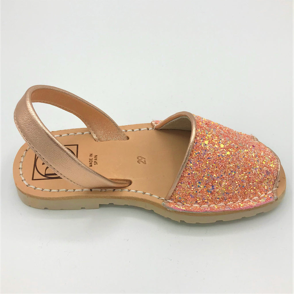 Pink glitter kids leather sandal from RGV Styled