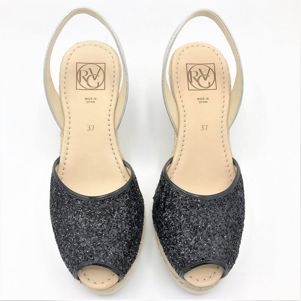 Black glitter leather wedge from RGV Styled
