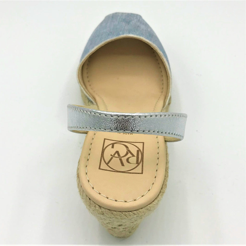 Denim look leather wedge sandal from RGV Styled