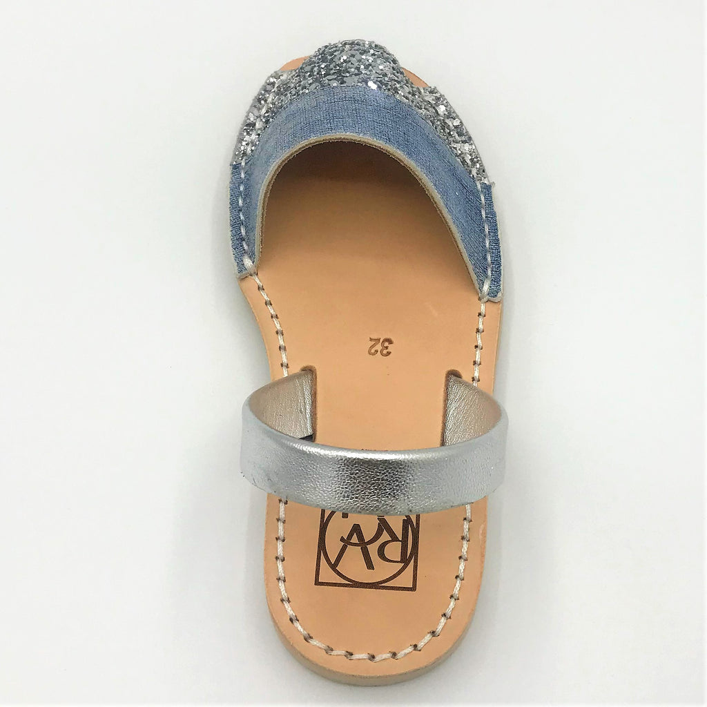 Denim look leather with silver glitter accent kids sandal from RGV Styled