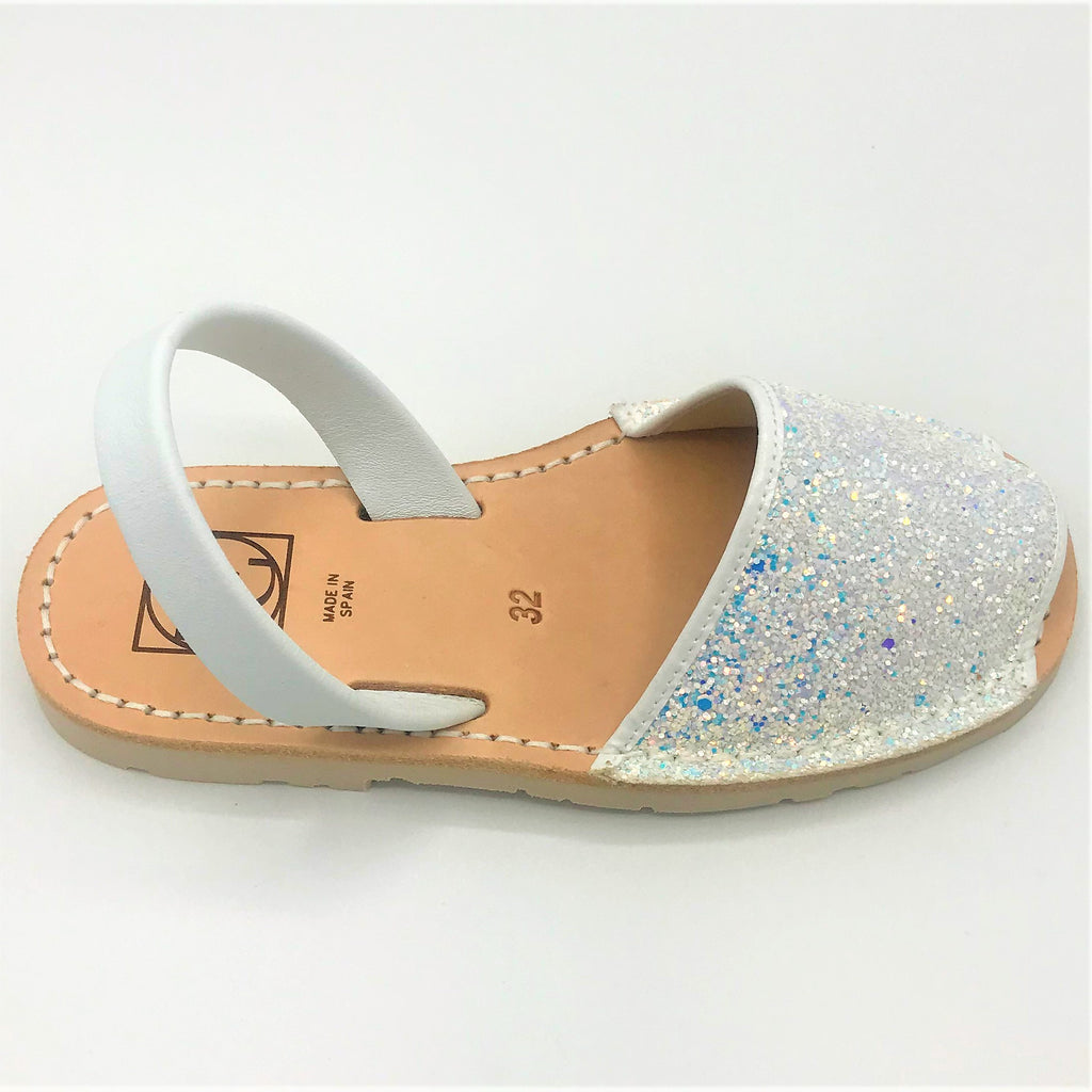 White glitter kids leather sandal from RGV Styled