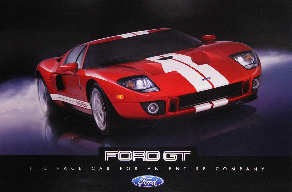 Ford Gt Double Sided Red White Poster