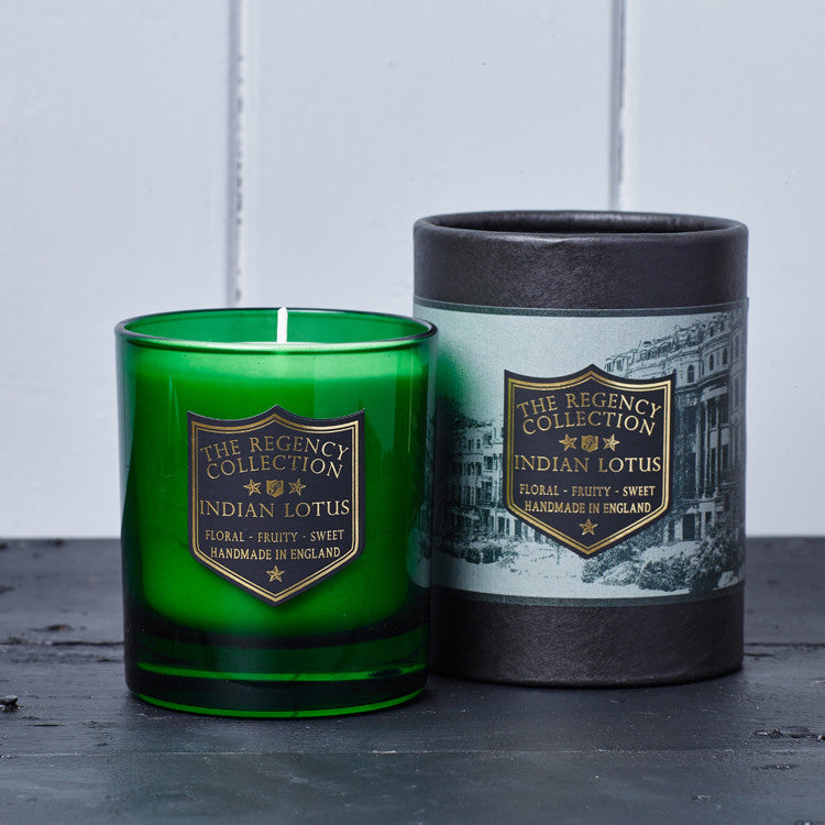 Indian Lotus Scented Candle from the Regency Collection by Parkminster. A blend of natural diffuser base and premium fragrances that creates a scent reminiscent of travels through India.