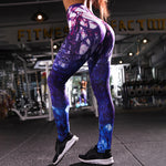 Fashion Women's  Galaxy Printed Hi-Waist Leggings High Elasticity Good Quality Thick Velvet  Legging