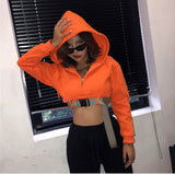 Orange Buckled Cropped Sweater