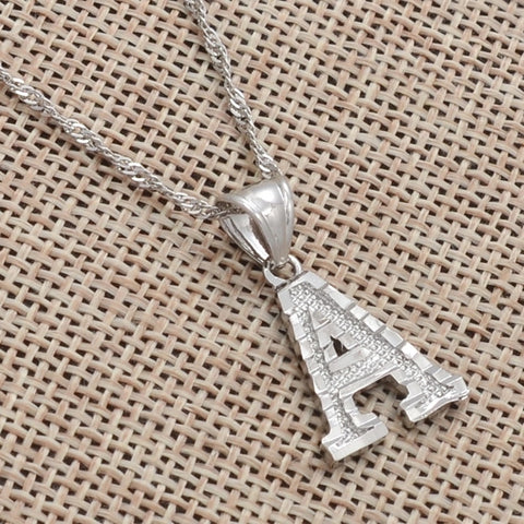 Thin Letter Necklace (Silver)