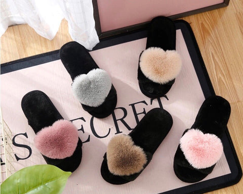 Cotton Heart Slippers