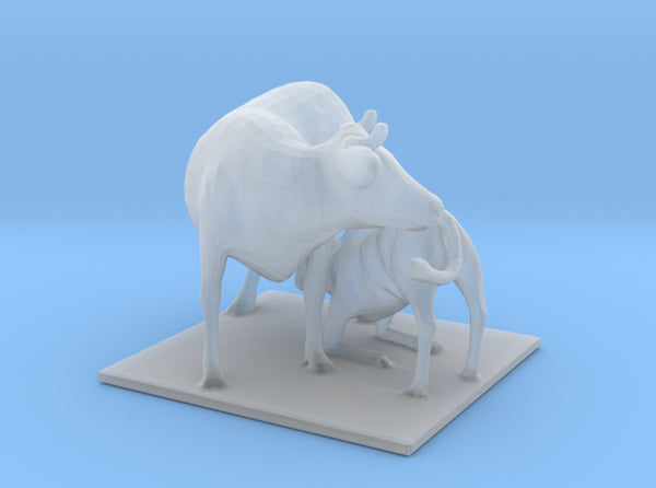 "Cow with Calf Nursing Classic 48"" 3d printed"