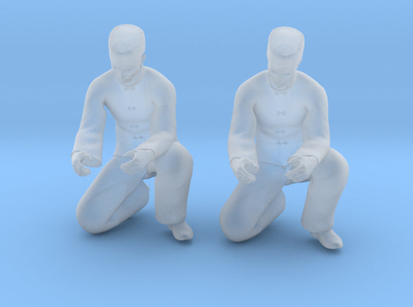 Chinese Man Squatting Hands Open 3d printed