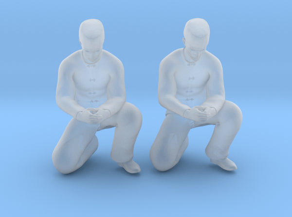 Chinese Man Squatting Hands Closed 3d printed