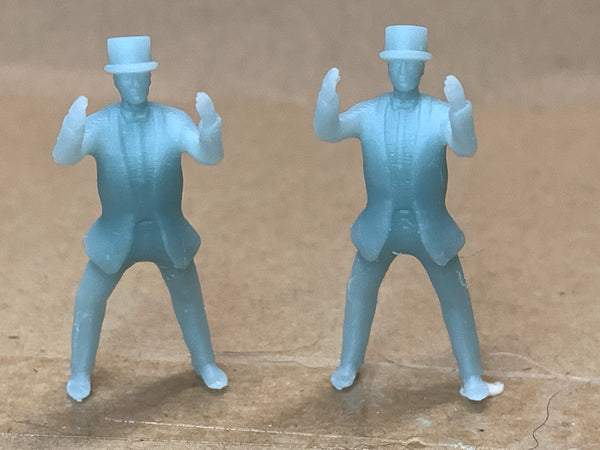 Man Standing Hands Air Suit Top Hat