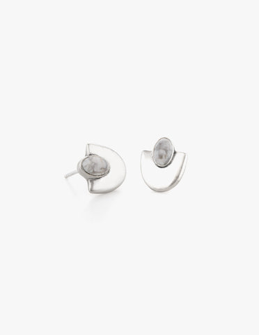 Deco Studs #4 in White Howlite - Dream Collective