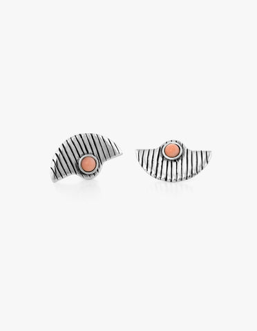 Deco Fan Studs #3 in Pink Coral