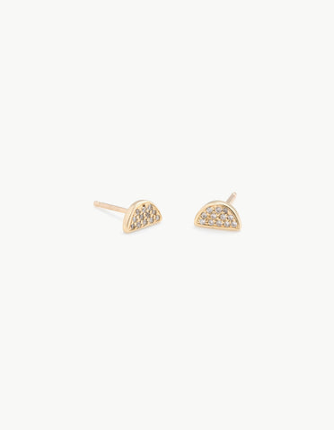 Semi Circle Studs with Pave