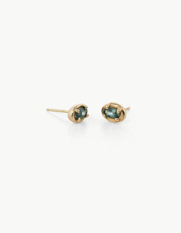 Ellipse Studs in Green Tourmaline