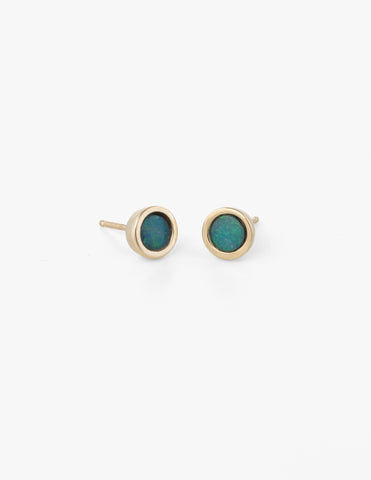 Dot Studs in Blue Opal