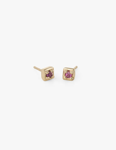 Tiny Square Studs in Pink Sapphire
