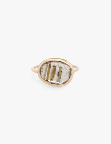 Rutile Quartz Slice Ring