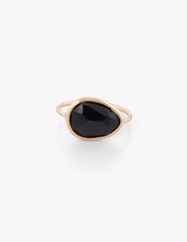 Black Onyx Slice Ring
