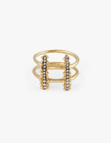 Double Beaded ring with Pave - Dream Collective