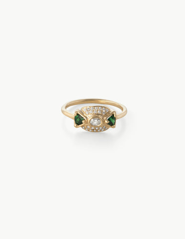Leida Ring in Tsavorite & Diamond
