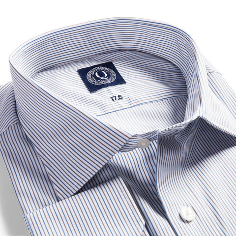 The Austin - Brown & Blue Pin Stripe