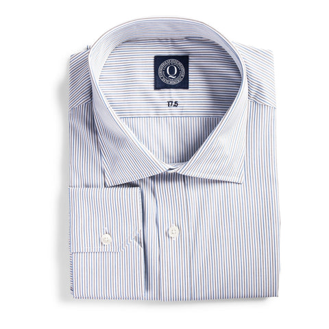Q Clothier / The Austin - Brown & Blue Pin Stripe / Q Clothier