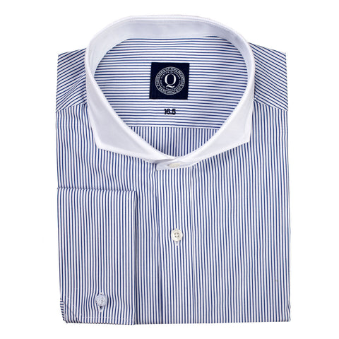The Chester - Navy Stripe with White Collar