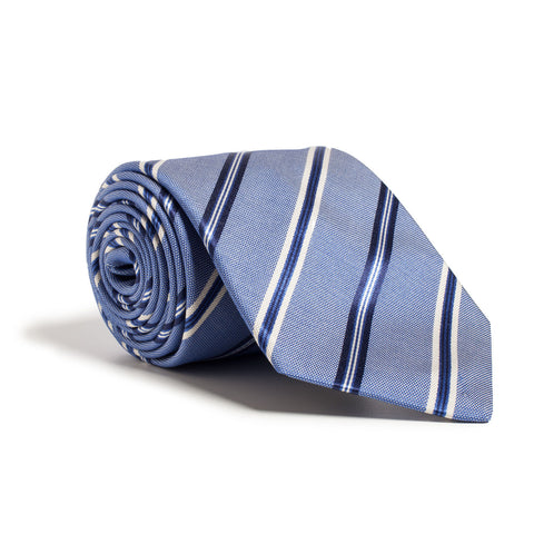 Q Clothier Necktie - Blue with Diagonal Stripes