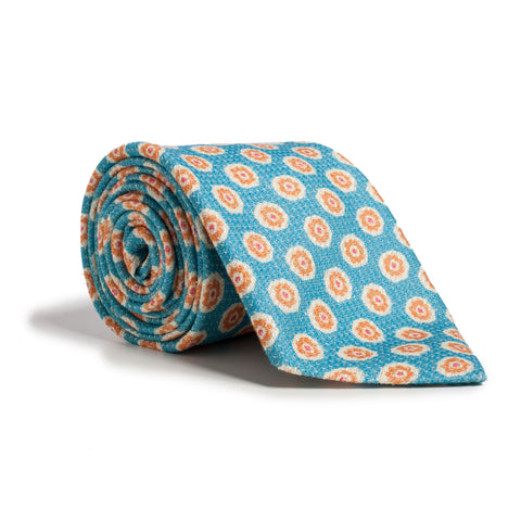 Q Clothier / Turquoise and Orange Flower Print / Q Clothier