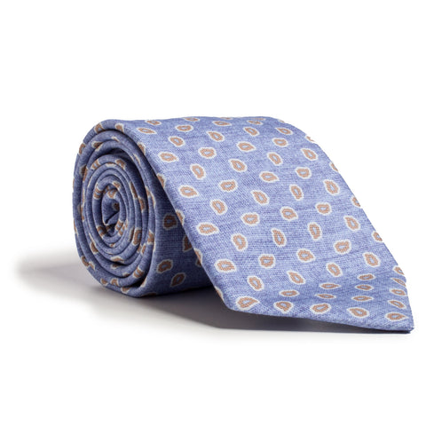 Q Clothier / Blue and Tan Micro Paisley Print / Q Clothier