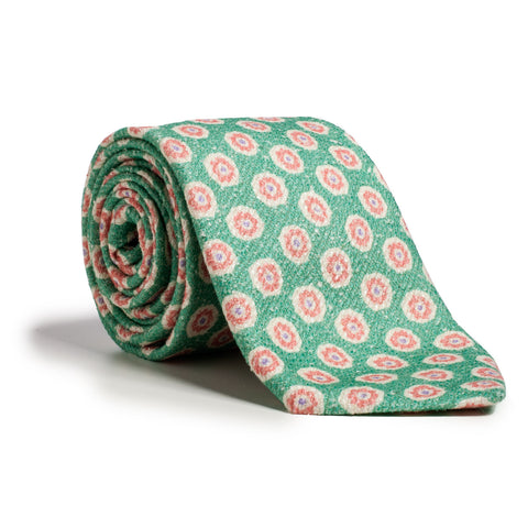 Q Clothier / Green and Ecru Flower Print / Q Clothier