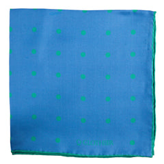 Blue Pocket Square with Green Dots