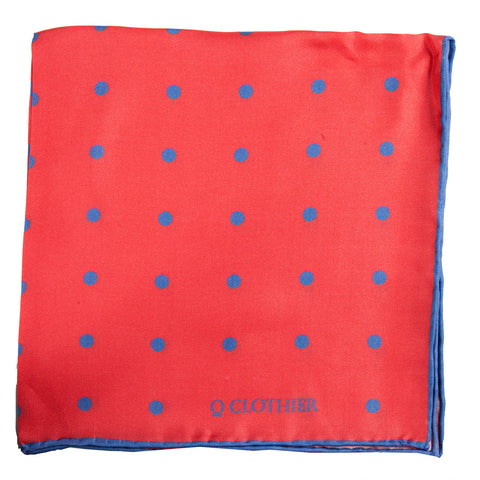 Q Clothier / Red Pocket Square with Blue Dots / Q Clothier