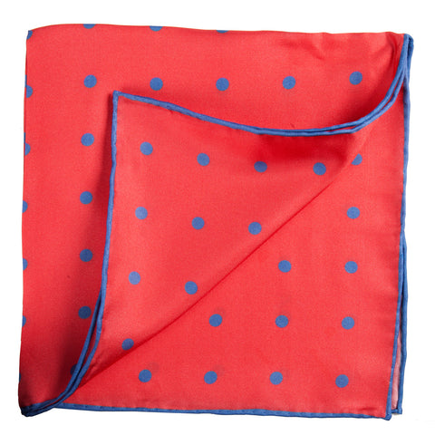 Red Pocket Square with Blue Dots