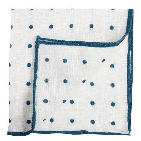White Pocket Square with Blue Dots