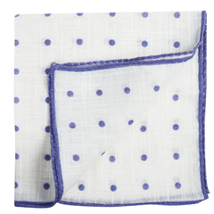 Q Clothier / White Pocket Square with Purple Dots / Q Clothier