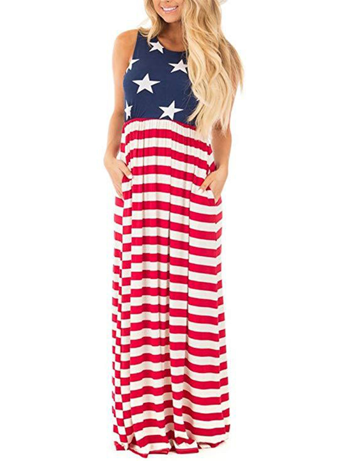 Womens Vintage USA American Flag Plus Size Summer Tank Long Maxi ...