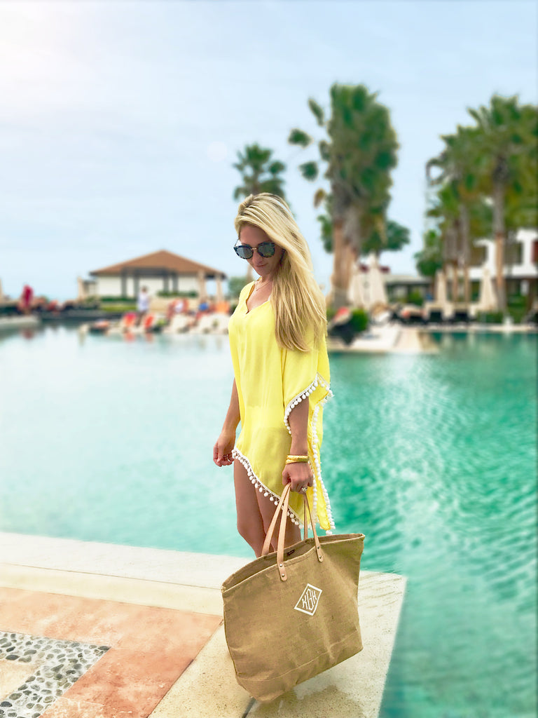 Vacation Yellow Pom Coverup