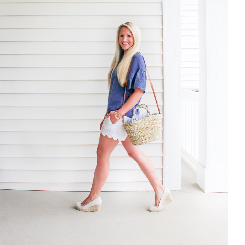 Navy Blue Eyelet Top, Comfy Wedges and Straw Bag