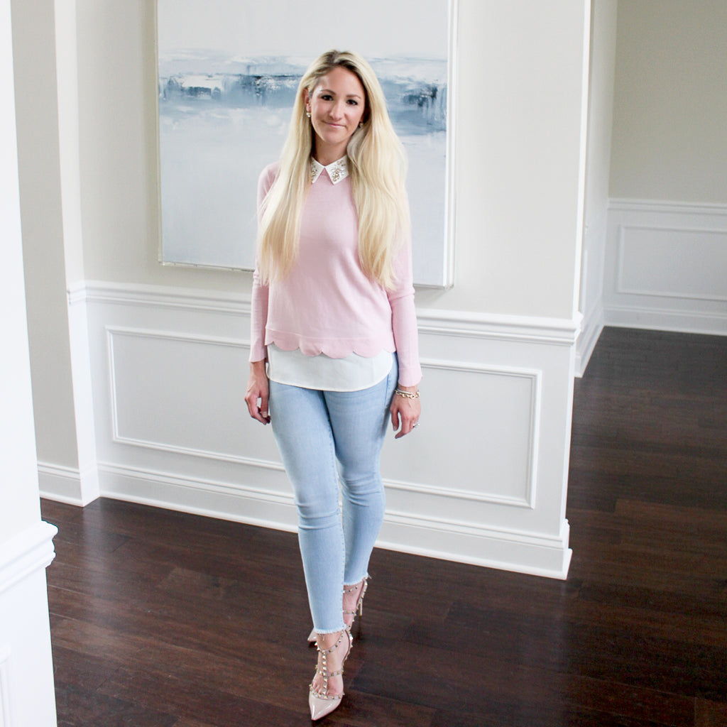 Pink Scallop Sweater Shirt