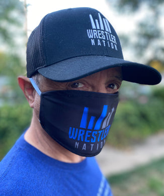 Black Mask w/ Blue and Grey Wrestler Nation Logo*
