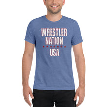 Load image into Gallery viewer, Men's Short Sleeve Wrestler Nation USA T-Shirt